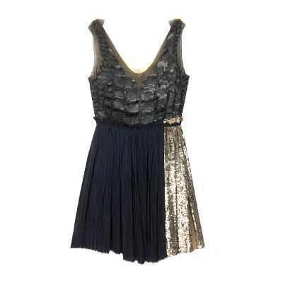 chiffon shirring spangle dress